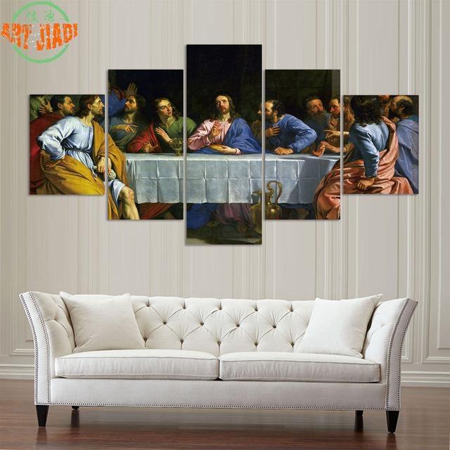 4 Pieces Or 5 Pieces Canvas Art Jesus Last Supper Hd Canvas With Regard To Jesus Canvas Wall Art (Photo 11 of 20)