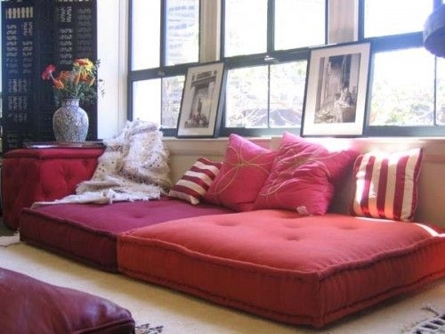 41 Cool Idea To Decorate Your Place With Floor Pillows | Shelterness With Floor Cushion Sofas (Image 1 of 10)