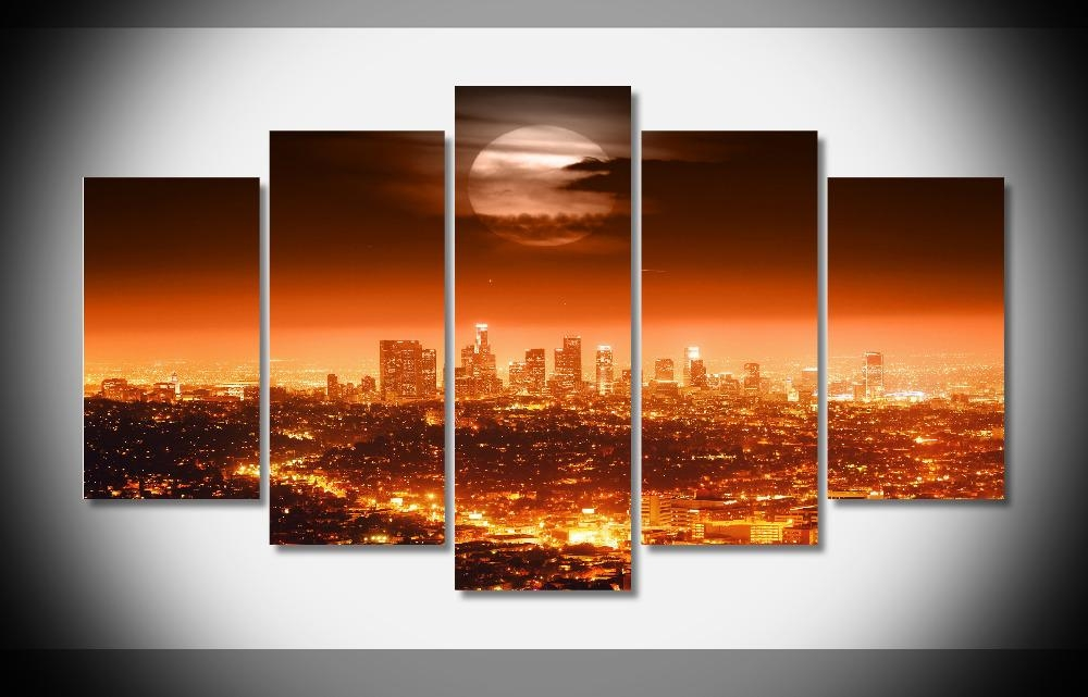 4490 Usa City Lights Night Los Angeles Skyline Moon Poster Gallery Pertaining To Los Angeles Canvas Wall Art (View 15 of 20)
