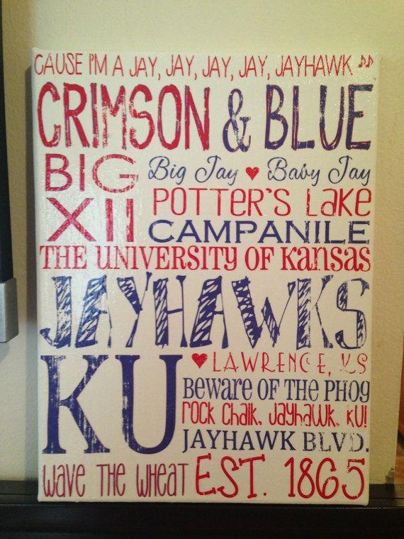 487 Best Rock Chalk Love Images On Pinterest | Kansas Jayhawks In Ku Canvas Wall Art (Image 1 of 20)