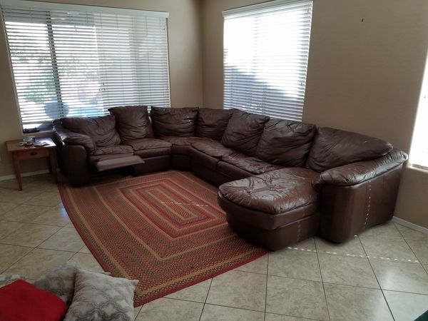 4Pc Brown Leather Sectional Sofa With Sleeper And Recliner Intended For Gilbert Az Sectional Sofas (Image 1 of 10)
