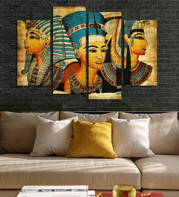 4Pcs Egyptian Pharaoh For Living Room Painted Modern Abstract In Egyptian Canvas Wall Art (Photo 13 of 20)