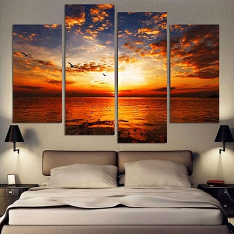 4Pcs/lot Modern Landscape Canvas Wall Art Print Oil Painting Home Inside Landscape Canvas Wall Art (Image 7 of 20)