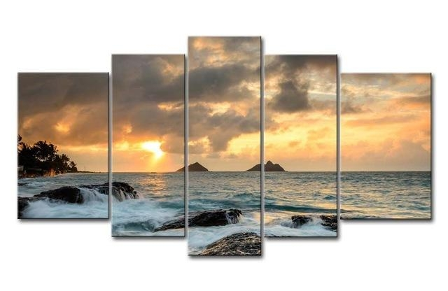 5 Hd Panels Unframed Giclee Canvas Prints Landscape Hawaii White With Regard To Hawaii Canvas Wall Art (Image 4 of 20)