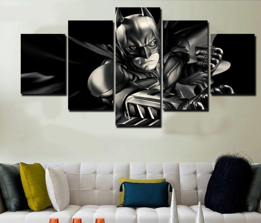 "5 Panel ""batman Dark Knight"" Canvas Painting | Batman Dark, Wall Throughout Johannesburg Canvas Wall Art (Image 1 of 20)"