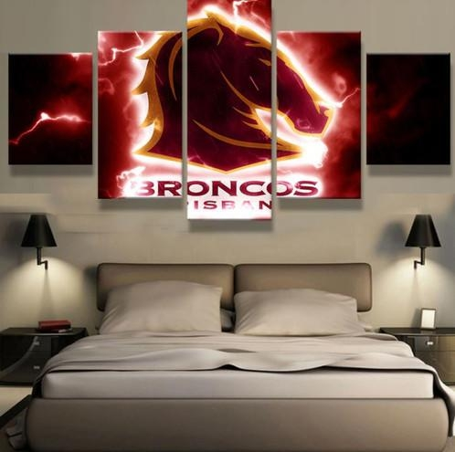5 Panel Brisbane Broncos Canvas Wall Art | Welcome To Canvas Print With Brisbane Canvas Wall Art (View 2 of 20)