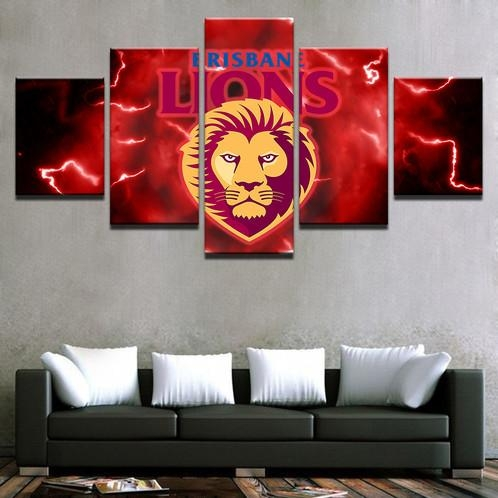 5 Panel Brisbane Lions Canvas Wall Art | Welcome To Canvas Print Regarding Brisbane Canvas Wall Art (Photo 10 of 20)