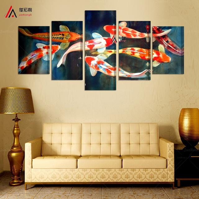 5 Panel Canvas Prints Koi Fish Art Chinese Painting Printed Home Throughout Koi Canvas Wall Art (View 5 of 20)