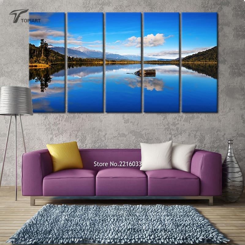 5 Panel Canvas Wall Art Blue Lake View New Zealand Scenery Large Intended For New Zealand Canvas Wall Art (Image 5 of 20)
