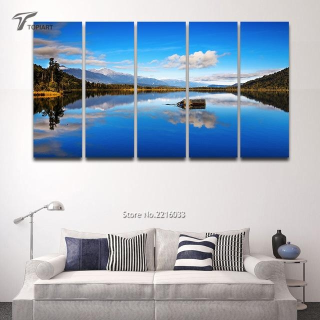5 Panel Canvas Wall Art Blue Lake View New Zealand Scenery Large Intended For New Zealand Canvas Wall Art (Image 4 of 20)