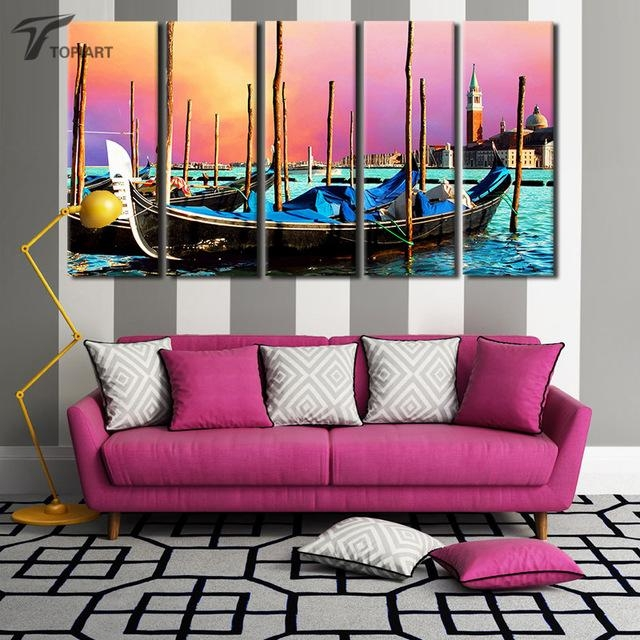 5 Panel Canvas Wall Art Venice Gondola Boat Print Painting Picture For Italy Canvas Wall Art (Image 3 of 20)