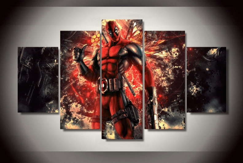 "5 Panel ""deadpool"" Marvel Superhero Canvas Wall Art | Octotreasure With Regard To Marvel Canvas Wall Art (View 14 of 20)"