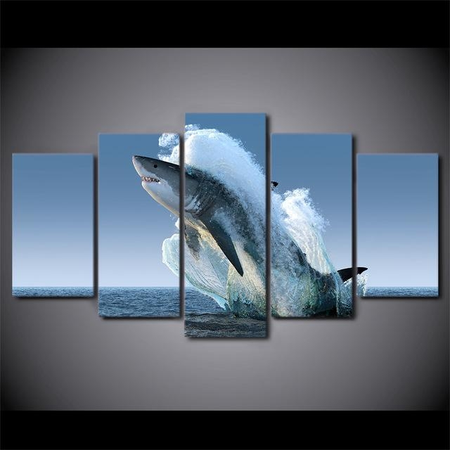 5 Panel Framed Hd Printed Jumping White Shark Seascape Canvas Wall Within Jump Canvas Wall Art (Photo 14 of 20)