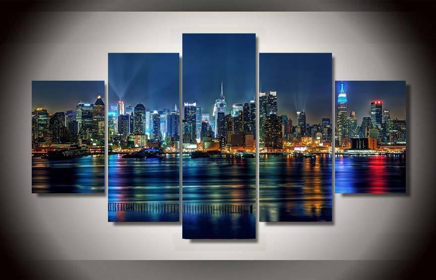 5 Panel Framed Printed New York City Painting On Canvas Room For Gold Coast Canvas Wall Art (Photo 12 of 20)