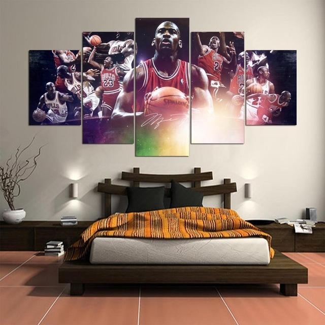 5 Panel Hd Printed Painting Michael Jordan Canvas Home Decor Wall For Michael Jordan Canvas Wall Art (Image 3 of 20)