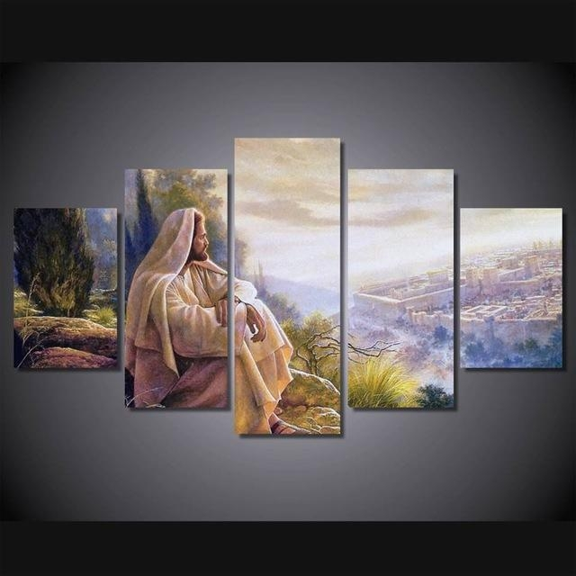 5 Panel Hot Sale Printed Group Canvas Painting Jesus Canvas Print Within Jesus Canvas Wall Art (Image 4 of 20)