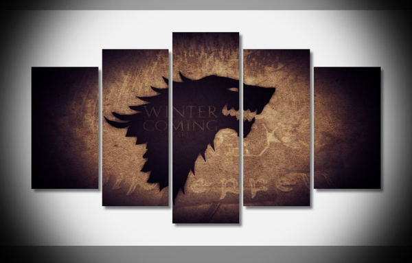 "5 Panel ""house Stark"" Game Of Thrones Canvas Wall Art 
