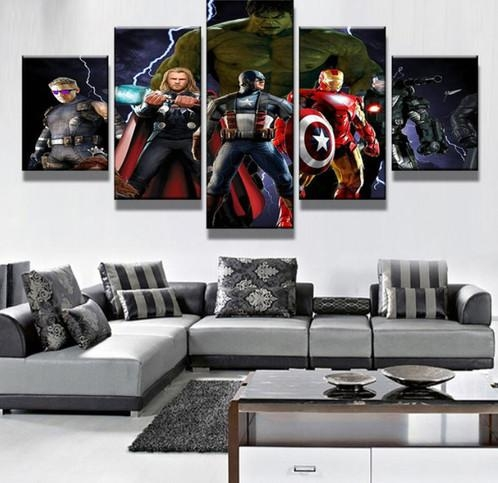 5 Panel Marvel's The Avengers Characters Canvas Wall Art | Welcome Intended For Marvel Canvas Wall Art (Image 6 of 20)