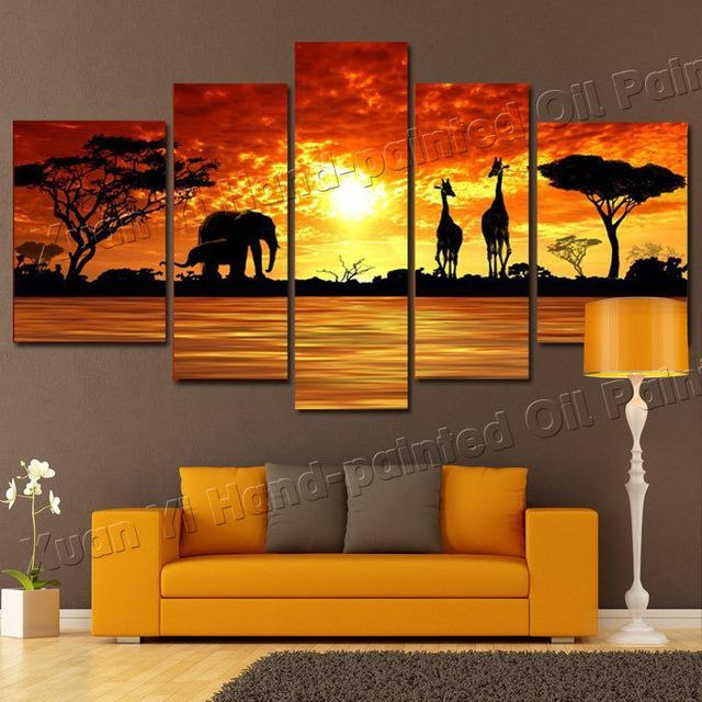 5 Panel Modern Hand Painted African Safari Landscape Oil Painting In Safari Canvas Wall Art (View 4 of 20)