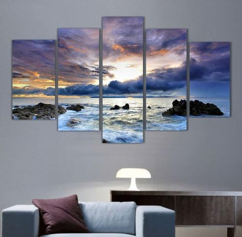 5 Panel Ocean Seascape Canvas Wall Art | Welcome To Canvas Print With Regard To Ocean Canvas Wall Art (Image 6 of 20)