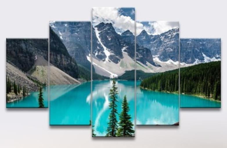 5 Panel Oil Painting Free Shipping Canada View Canvas Wall Hanging Throughout Canvas Wall Art In Canada (Image 2 of 20)