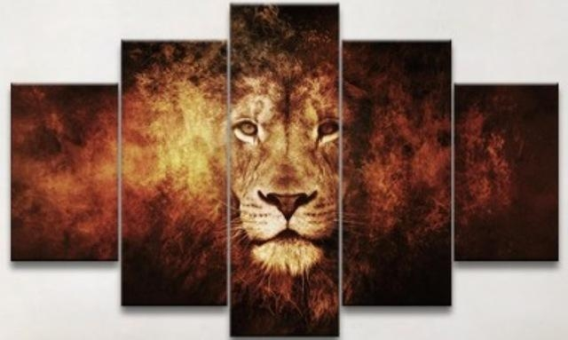 5 Panel Oil Painting Free Shipping Lion Art Canvas Wall Hanging Intended For Lion King Canvas Wall Art (Image 3 of 20)