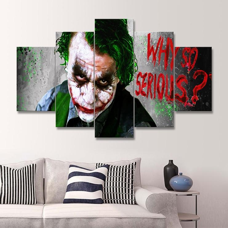 5 Panel Painting Free Shipping Joker Art Canvas Wall Hanging Art Inside Joker Canvas Wall Art (View 5 of 20)