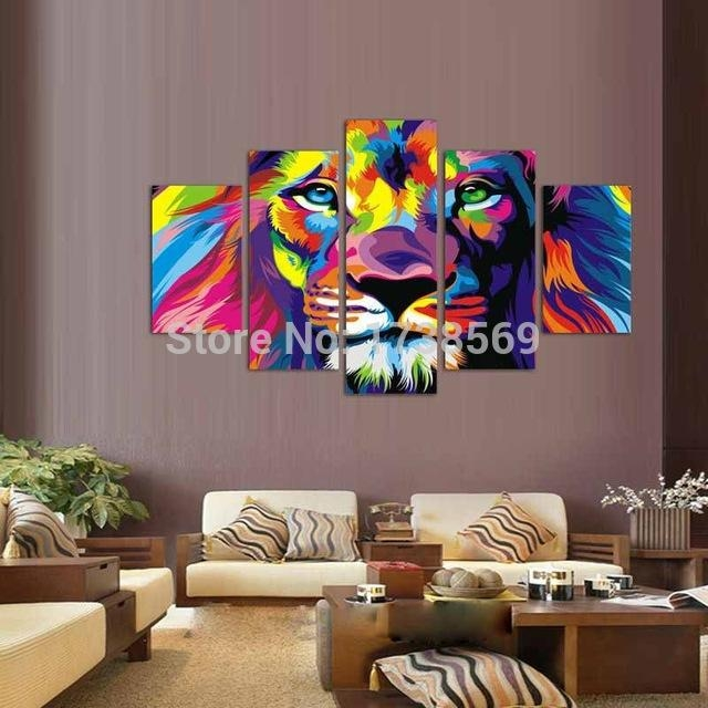 5 Panel Painting Modern Home Decoration Wall Art Picture For Regarding Lion King Canvas Wall Art (Image 4 of 20)