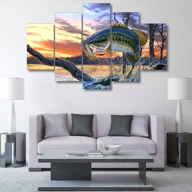 5 Panel Printed Modular Canvas Oil Painting Jumping Fish Canvas Regarding Jump Canvas Wall Art (Photo 3 of 20)