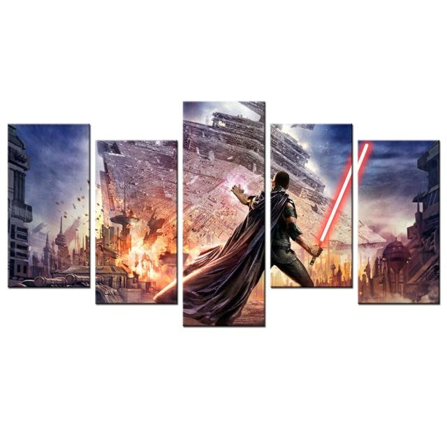 5 Panel Star Wars Wall Decor Canvas Painting Wall Murals For Intended For Murals Canvas Wall Art (Image 4 of 20)