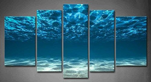 5 Panel Wall Art Blue Ocean Bottom View Beneath Surface Painting In Blue Canvas Wall Art (Image 4 of 20)