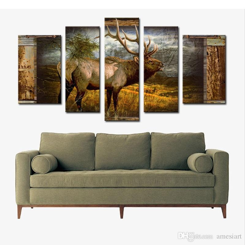 5 Panel Wall Art Deer Buck In Jungle Painting The Picture Print On For Deer Canvas Wall Art (View 3 of 20)