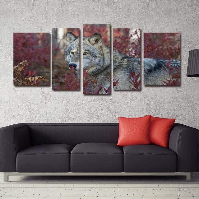 5 Panel Wall Art Painting Prints On Canvas Animal The Picture For Nottingham Canvas Wall Art (View 16 of 20)