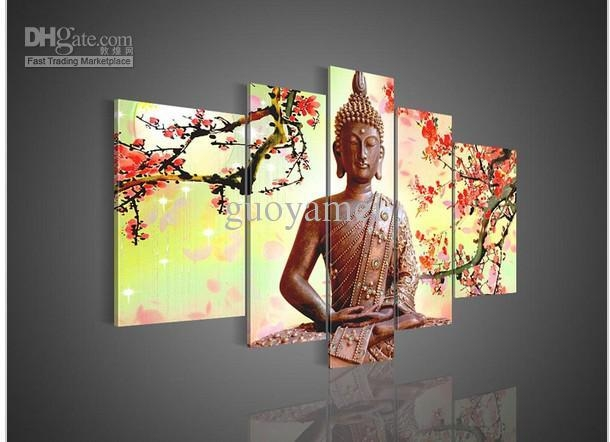 5 Panel Wall Art Religion Buddha Oil Painting On Canvas No Throughout Religious Canvas Wall Art (View 7 of 20)