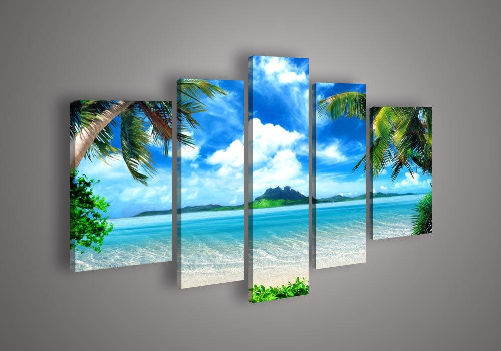 5 Panel Wall Art Seascape Blue Ocean Picture Sea Oil Painting On Throughout Beach Canvas Wall Art (Image 4 of 20)
