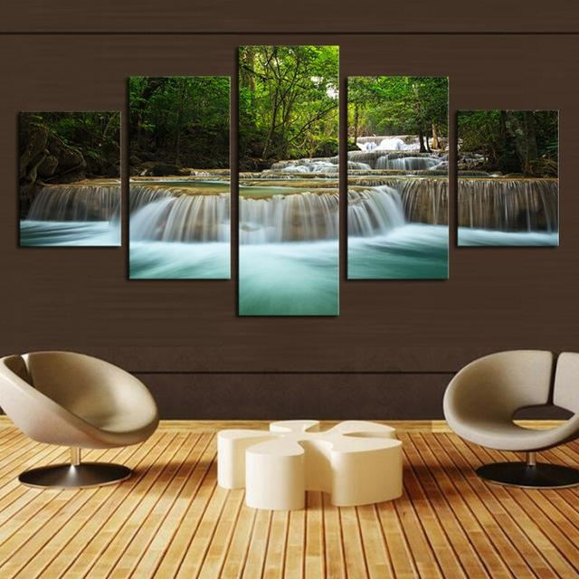 5 Panel Waterfall Painting Canvas Wall Art Picture Home Decoration With Living Room Canvas Wall Art (Photo 10 of 20)