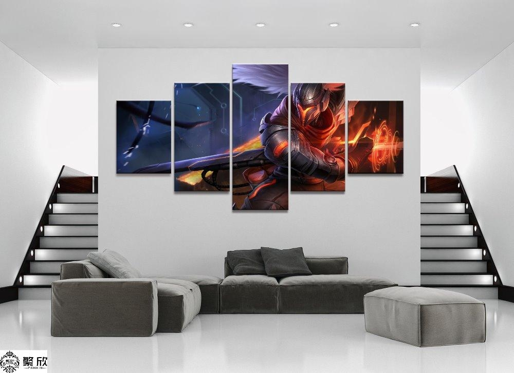 5 Panel Yasuo League Of Legends Lol Game Canvas Printed Painting Regarding Gaming Canvas Wall Art (Image 5 of 20)