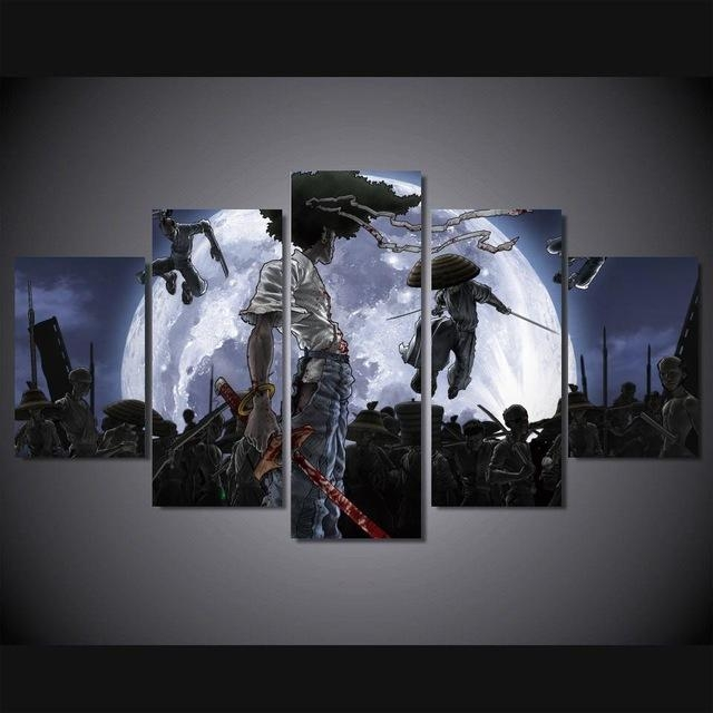 5 Panels Anime Canvas Print Painting Modern Afro Samurai Canvas Inside Anime Canvas Wall Art (Photo 5 of 20)