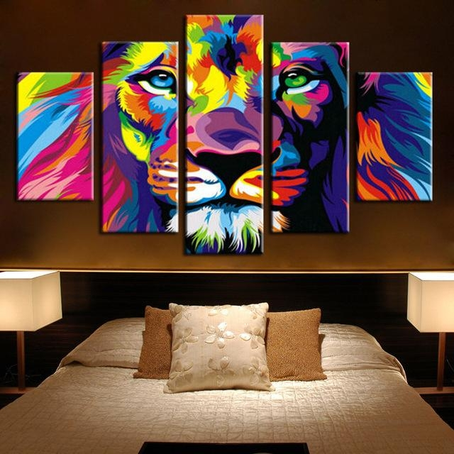 5 Panels Canvas Prints Framed 5 Panels Modern Animal Lion King In Lion King Canvas Wall Art (Image 5 of 20)