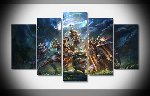 5 Panels Canvas Prints League Of Legends Canvas Painting Poster Within Anime Canvas Wall Art (Photo 3 of 20)