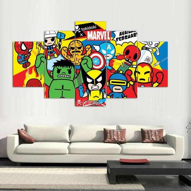 5 Panels Canvas Prints Tokidoki Marvel Artwork Canvas Painting In Marvel Canvas Wall Art (Image 7 of 20)
