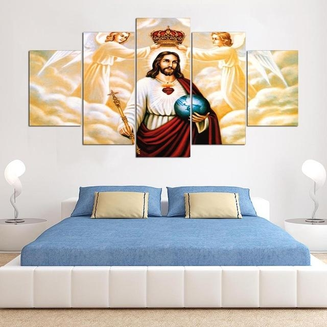 5 Panels Canvas Wall Art Modular Frame Picture Landscape Jesus With Jesus Canvas Wall Art (Photo 12 of 20)