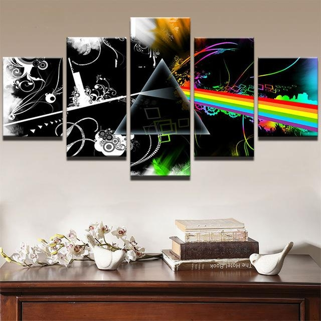 5 Panels Hot Music Canvas Prints Painting Wall Art 5 Pieces With Regard To Music Canvas Wall Art (Photo 11 of 20)