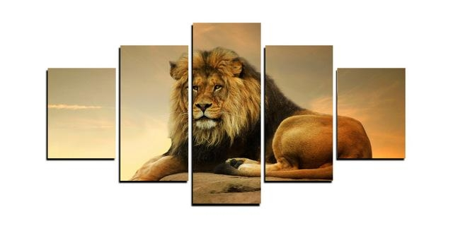 5 Panels Male Lion King Canvas Prints For Living Room Wall Art For Lion King Canvas Wall Art (Image 6 of 20)