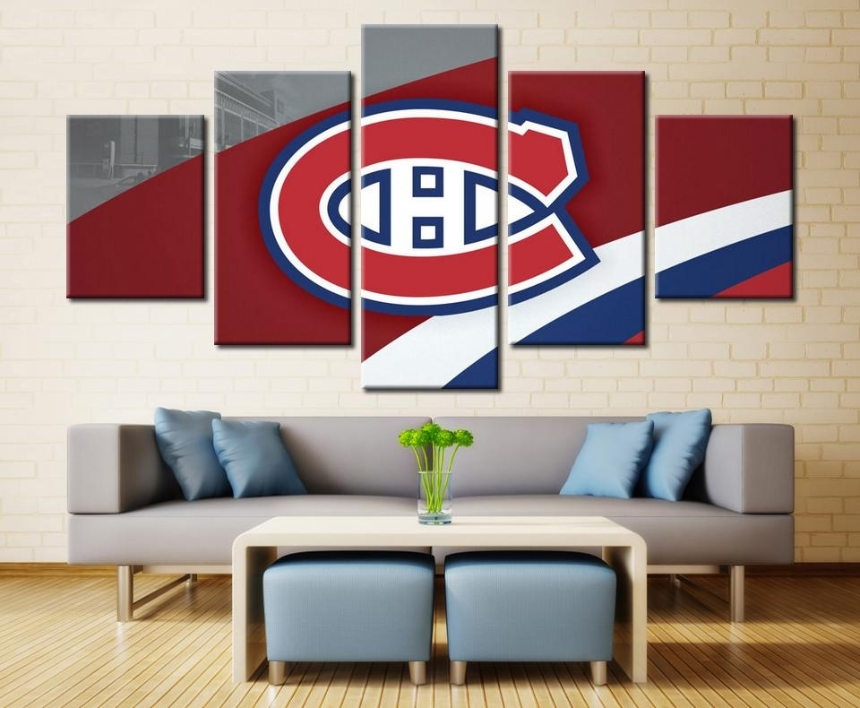 5 Panels Montreal Canadiens Professional Ice Hockey Team Modern With Montreal Canvas Wall Art (Image 2 of 20)