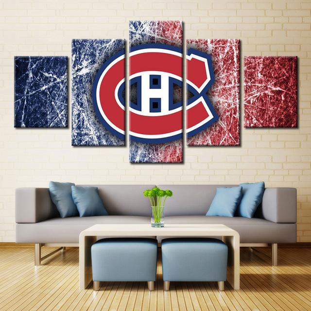 5 Panels Montreal Canadiens Professional Ice Hockey Team Modern With Montreal Canvas Wall Art (Image 1 of 20)
