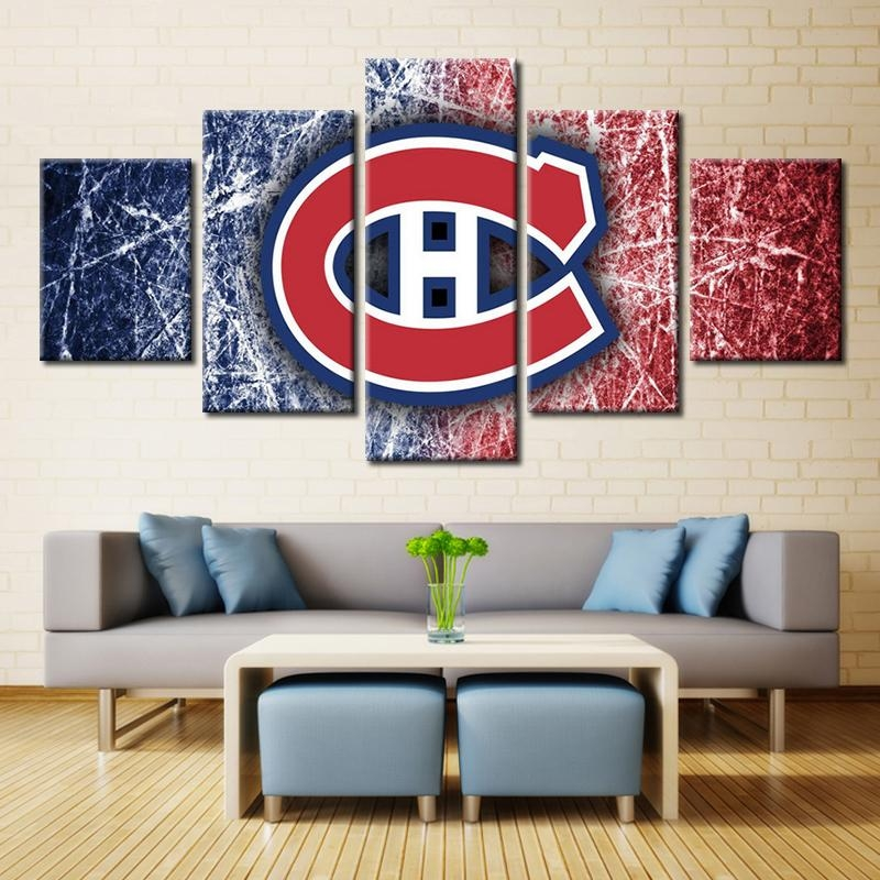 5 Panels Montreal Canadiens Professional Ice Hockey Team Modern Within Montreal Canvas Wall Art (Image 3 of 20)