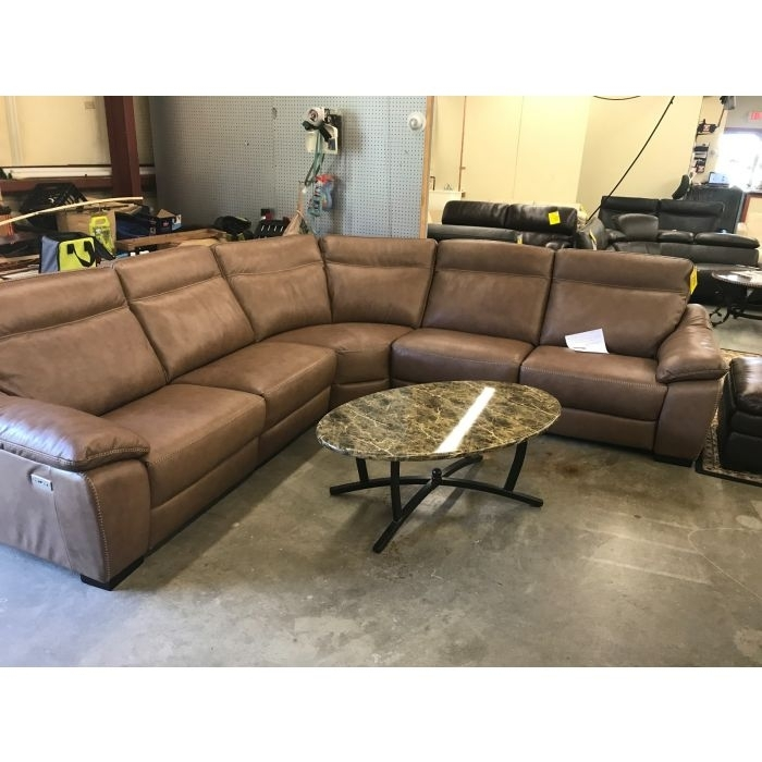 5 Pc Leather Sectional Sofa With 3 Power Recliners With Power Headrest, With Regard To Sectional Sofas With Power Recliners (Image 1 of 10)