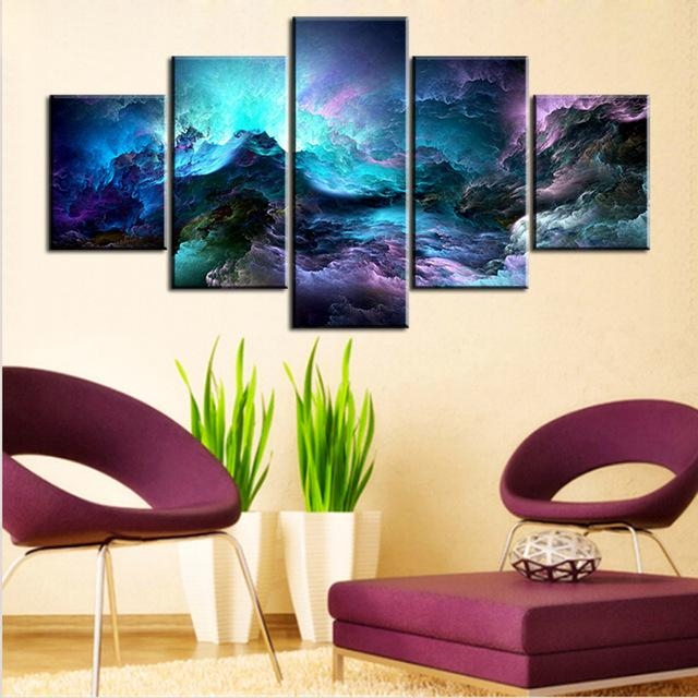 5 Pc Set Light Blue Abstract Cloud No Frame Oil Painting Canvas Throughout Light Abstract Wall Art (Image 3 of 20)