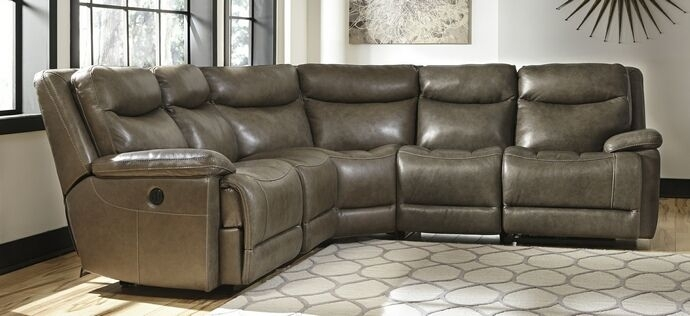 5 Pc Zaiden Collection Quarry Colored Leather Match Sectional Sofa Inside 102X102 Sectional Sofas (Image 1 of 10)